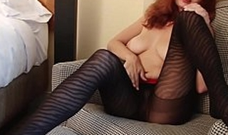 Redhead Ashley  Nearly Designer Pantyhose Playing With Herself