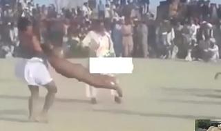 Indian straight wrestler stripped barren in desi kushti