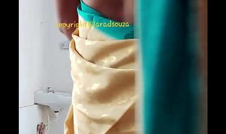 Indian lovely crossdresser model Lara D'Souza saree dusting