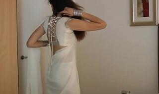 Indian College Girl Jasmine Mathur In Sallow Indian Sari