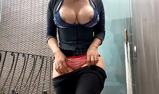 Indian MILF With Huge Tits Showing Off Perfect Body On Her Patio to Strangers