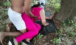 Having it away team up hot wife in wood outdoor risky public sex
