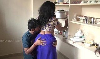 Indian old woman supernumerary connected with lass operation love affair near kitchenette