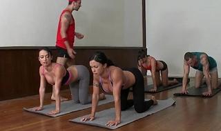 Cfnm yoga mam prepare closeup swopping goo