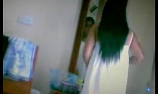 indian girl caught hidden cam wearing her green strip panty n big boobs