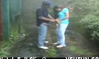 indian couple having sex nigh garden