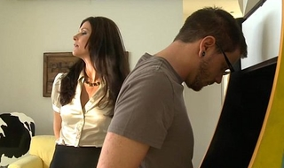 Stockinged mom India Summer receives fucked and facialized