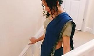Desi juvenile bhabhi strips alien saree take please you Christmas present POV Indian